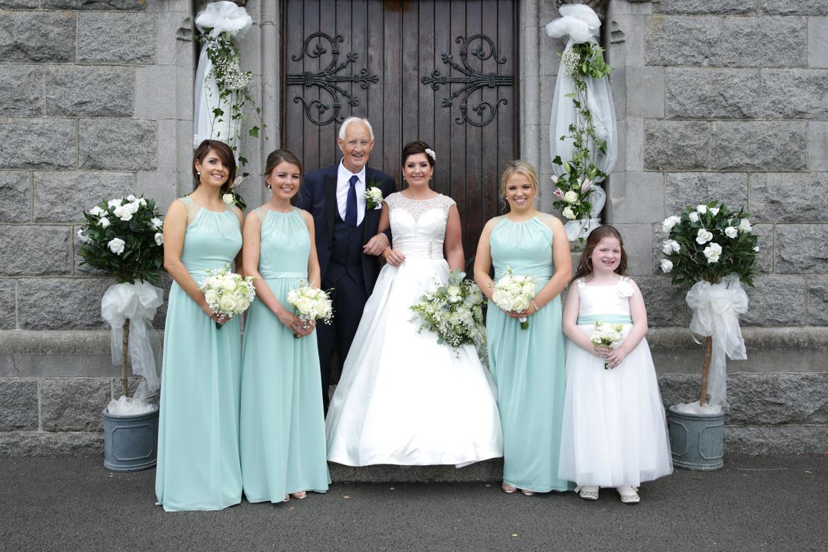 Bride & her dad & Bridesmaids