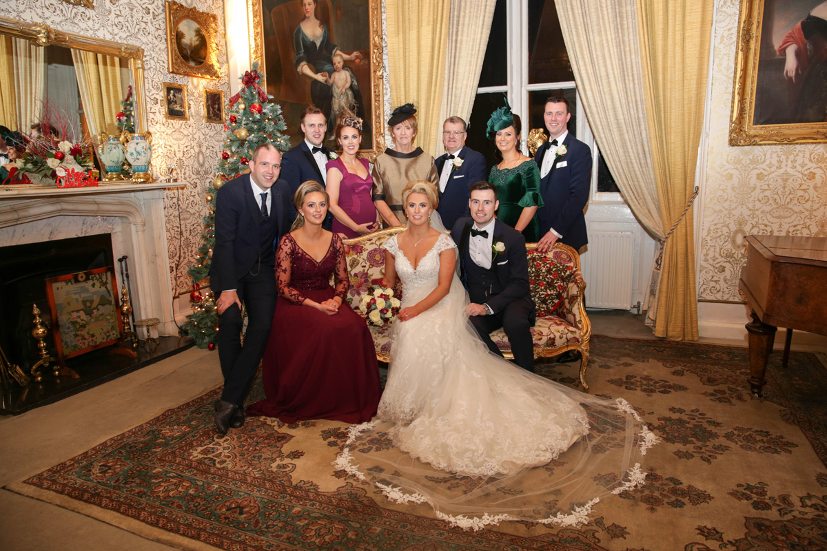 Bride and Groom with Grooms Family